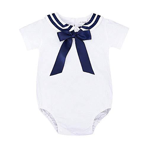Kinder Kurzarm Body mit einem Paar Socken Kleinkind Sailor einteiliges Outfit Set aus weicher Baumwolle Baby Strampler (Kleinkind Mädchen Sailor Kostüm)
