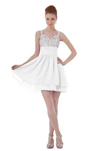 lemandy robe de soirée mousseline cristal longueur mi cuisse avec bretelles Blanc