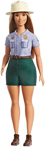 Barbie 12-in/30.40-cm Blonde Curvy Park Ranger Doll with Ranger Outfit Including Denim Shirt, Green Khaki Shor