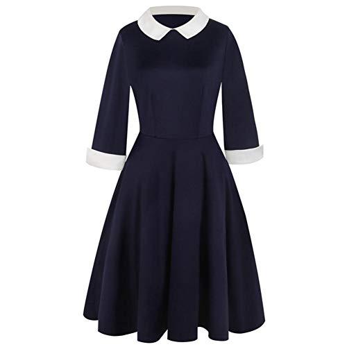 IrahdBowen Dress Doll Collar Wear Damen Mittwoch Addams Swing Flare Kleid
