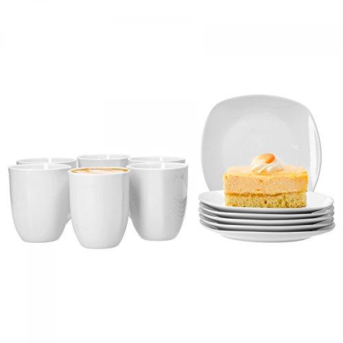 Van Well Frühstücksservice Lilli, 12-tlg. für 6 Pers., Kaffeebecher 350 ml + Frühstücksteller,...