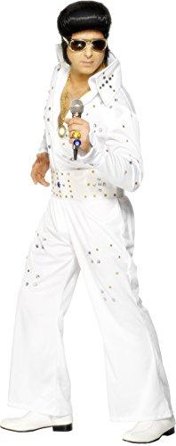 Smiffys, Herren Elvis Kostüm mit Strasssteinchen, Overall mit Gürtel, Größe: L, (Elvis Kostüm Gürtel)