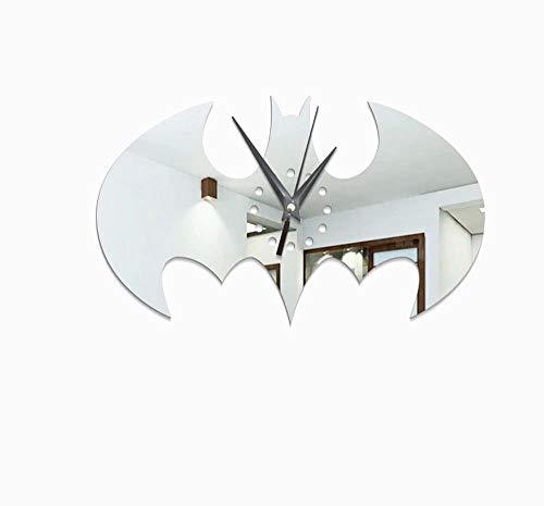 1 PC Batman Geschenk Wanduhr Halloween Weihnachten für Männer Kinder und Mädchen Silber