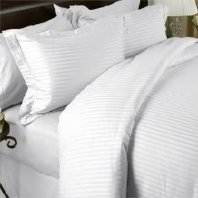 7 pc White Damask Stripe King Size Bed Sheet-Duvet Cover Sheet with TWO Shams and TWO pillow cases set. 1500 Thread Count 100% Long Staple Egyptian Giza Cotton with Swiss Sateen Finishing by Prime Linens