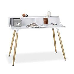 Relaxdays Schreibtisch weiß ARVID, Holz, 2 Fächer, Ablage, HxBxT: 93 x 120 x 60 cm, Beine natur, Gummi Untersetzer, white