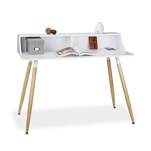Relaxdays Schreibtisch Holz, 2 Fächer, Ablage, Holzbeine, nordischer Stil, Bürotisch, HxBxT: 93 x 120 x 60 cm, weiß