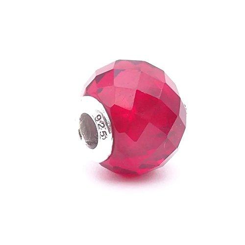 Angelbeads per DIY Essenza per braccialetto Pandora Charms in argento Sterling 925sfaccettato perline di vetro rosso