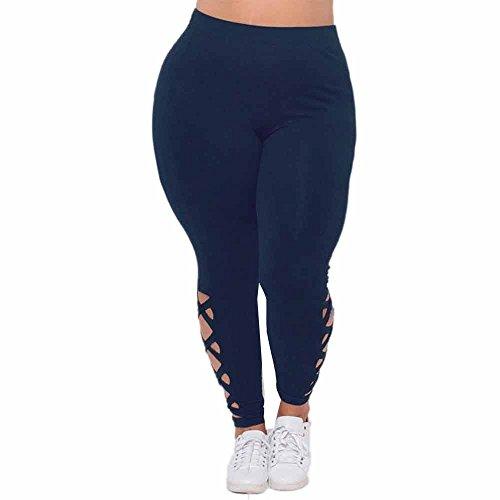 (LEEDY ❤️️ Übergröße Hose Leggings, Damen Frauen Stretchy Hohe Taille Hose mit löcher Cropped Hose Plus Size Sport Yoga Hose Stretchy Fitness Jogginghose Bleistifthose Pants Sportswear)