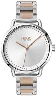 ساعة هوجو بوس للنساء بمينا ابيض في فضي وسوار ستانلس ستيل ذات لونين - 1540057
