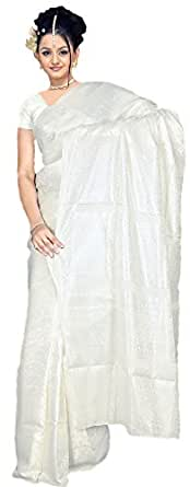 Blanc très joli Saree / Sari dans Bollywood CA122
