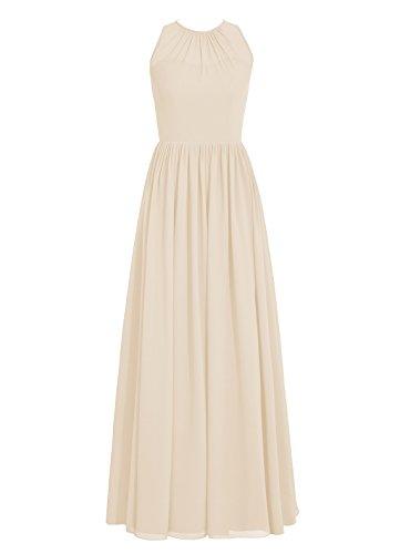 Dresstells, Robe de soirée sans manches, robe de cérémonie, robe longue de demoiselle d'honneur Champagne