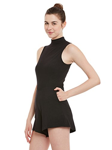 Miss-Chase-Womens-Black-Solid-High-Neck-Sleeveless-Bodycon-Playsuit