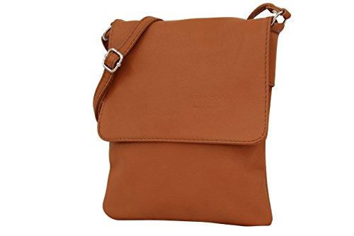 AMBRA Moda Italienische Ledertasche Schultertasche Crossover Umhängetasche Nappaleder Damen Kleine Tasche NL602 (Cognac) (Handtaschen Cognac Stoff)