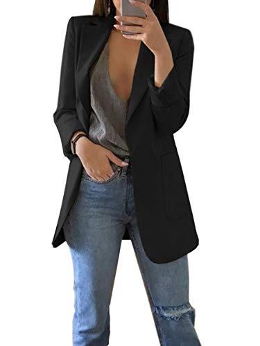 ORANDESIGNE Damen Cardigan Elegant Blazer Langärmliger Anzugjacke Einfarbig Blazer Business Slim Fit Bolero Jacke Anzug Trenchcoat A Schwarz DE 44