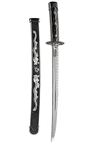 Ninja-Schwert Samurai-Schwert 52cm schwarz Katana Säbel Shuriken Kunai Kinder Spielzeug-Waffe Ninja-Kostüm (Kostüme Waffen Ninja)