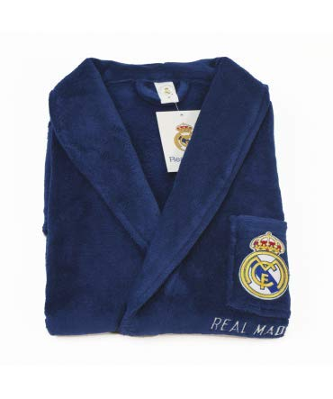 10XDIEZ Bata Real Madrid 306 Azul Royal - Medidas Albornoces/Batas Adulto - M (Mediana)