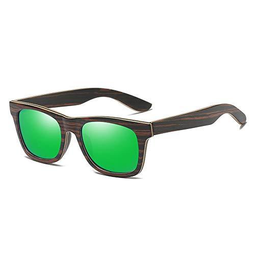Zbertx Designer polarisierte Holz Sonnenbrille für Männer Frauen Uv400 Bambus Sonnenbrille Beschichtung Spiegel Objektiv,Green