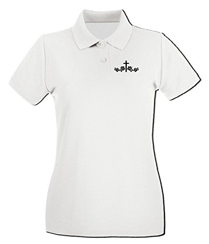 Cross-cut-polo (T-Shirtshock - Polo fur frau FUN1099 cross flower die cut vinyl decal sticker 80297, Größe L)