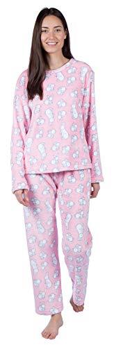 Selena Secrets Damen Schlafanzug Gr. S 36-38, Pink - Bunny Rabbit Print