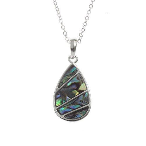 Kiara Schmuck segmentiert Tropfenform Anhänger Halskette mit natürlichen grünlichen blau intarsiert Paua Abalone Shell auf 45,7 cm Trace Kette. Rhodiniert, Anlauf (Die Kostüme Rund Um Der Welt Einfach)