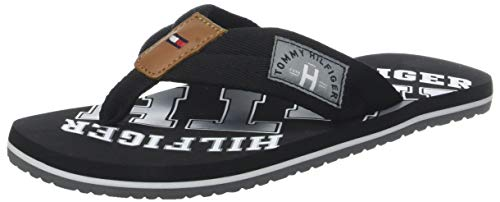 Tommy Hilfiger Essential TH Beach Sandal, Chanclas para Hombre, Negro Black 990, 43 EU