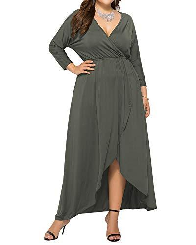 AUDATE Lange Kleid Maxi Freizeit Kleid Sommer Übergröße Lange Ärmel Kleider Damen Militärische grau DE 44 Langen Ärmeln Kleid