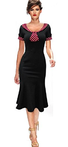 Robe de Rockabilly Pin Up Wiggle Crayon Années 40 50 Style Vintage (FR38, Noir)