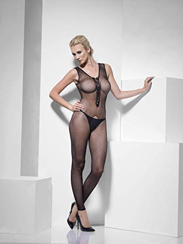 Smiffy's 26343 - Netzs Body Stocking Lace Up Front ouvert -