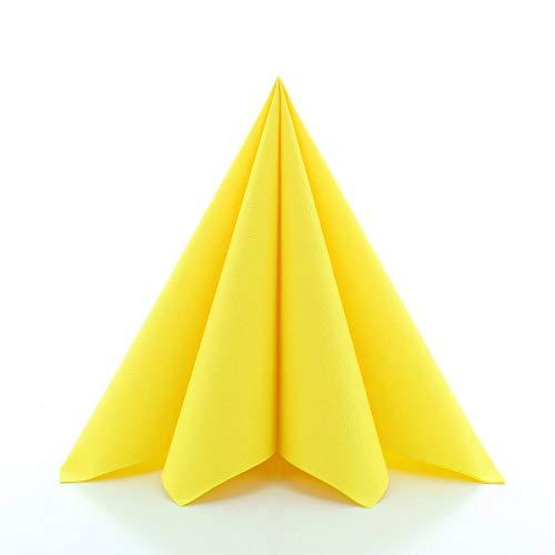 Sovie HORECA Airlaid-Servietten 40x40 cm | hochwertige Einweg-Servietten | extrem saugstark und stoffähnlich | ideal für Hochzeit & Partys | 50 Stück | Gelb