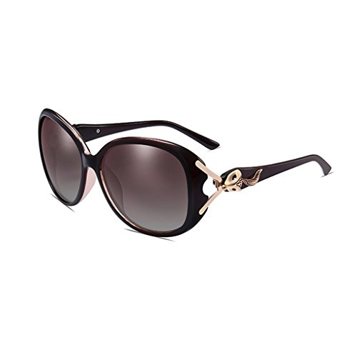 LIZHIQIANG Polarisierte Sonnenbrille Frauen UV-Schutz Sonnenbrille Frauen Lange Gesicht Runde Gesicht Sonnenbrillen (Farbe : Braun)