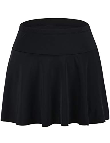 Septangle Damen Sommer Baderock Mit Integrierter Hose Mini Bikinihosen Bottom Mit Short, Schwarz, EU 48( UK 20)