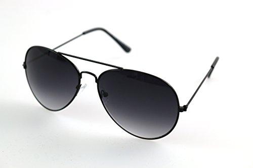 By Neki Premium Unisex Pilotenbrille, UV400-Schutz, klassisch, verspiegelt, Schwarz Gr. Einheitsgröße, Schwarz