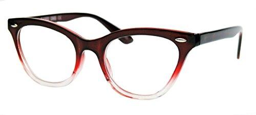 50er Jahre Damen Brille Cat Eye Nerdbrille Katzenaugen Hornbrille clear lens Farbverlauf (Red Ombre)