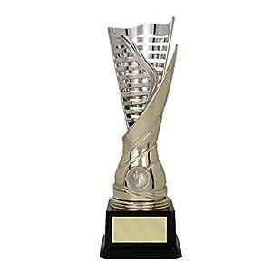 RaRu Extravaganter Rhönrad-Pokal (Flamme silbergold) mit Ihrer Wunschgravur