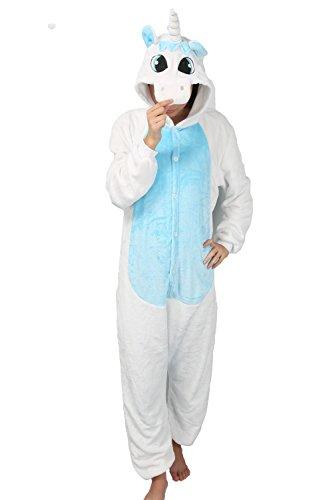 Overall Halloween Blauer Kostüm (LATH.PIN Jumpsuit Tier Karton Fasching Halloween Kostüm Sleepsuit Cosplay Fleece-Overall Pyjama Schlafanzug Erwachsene Unisex Lounge Nachtwäsche S/M/L/XL (S, blau)