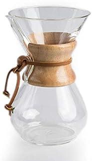 مصب قهوة زجاجي بالتنقيط مع فلتر ستانلس ستيل وحلقة خشبية خاص للقهوة سعة 400 مل