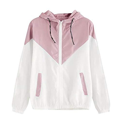 JUTOO Frauen Langarm Patchwork Dünne Skin Suits Mit Kapuze Reißverschluss Taschen Sport Mantel(Rosa,EU:46/CN:XL)