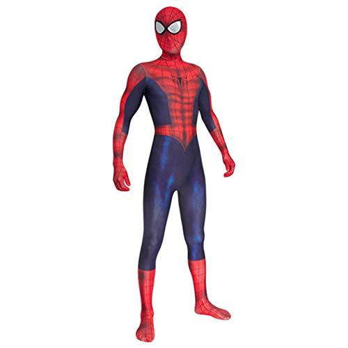 nihiug Halloween Cosplay Kostüm Spiderman Cos Anzug Overall Amazon Spiderman Blau,Redblue-160-165cm