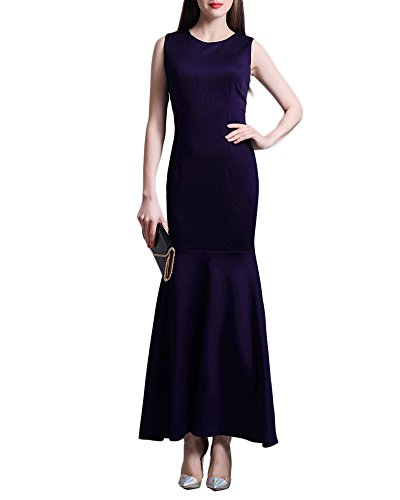 Damen Party Kleid Elegant Jersey Abendkleid Einfarbig Ärmellos Langes Fishtail Cocktailkleid Violett