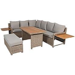 greemotion 128512 Rattan Lounge Set Verona-Loungemöbel mit Esstisch für Garten & Terrasse-Gartenmöbel aus Polyrattan Braun-Beige-Outdoor Loungeset mit Stauraum, 19,2 x 25 x 7,5 cm