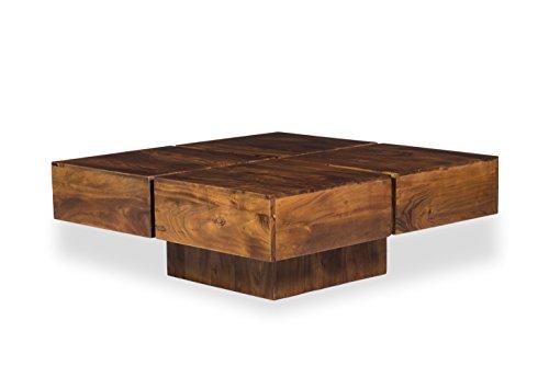 Woodkings® Couchtisch Amberley 80x80cm, Holz Akazie braun, Echtholz modern, Design, Massivholz Lounge Coffee Table günstig