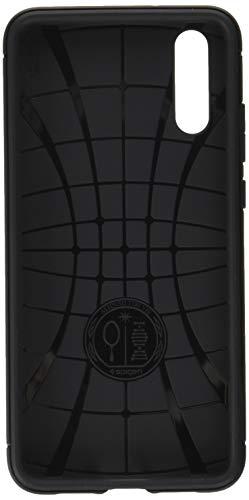 Spigen Rugged Armor, Design in Fibra di Carbonio Originale Cover Huawei P20 - Nero