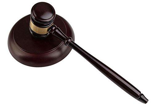 hothuimin Holz Hammer und rund Block Set, Holz handgearbeitet Hammer mit Block für Rechtsanwalt Judge, Auktion 15-pmc