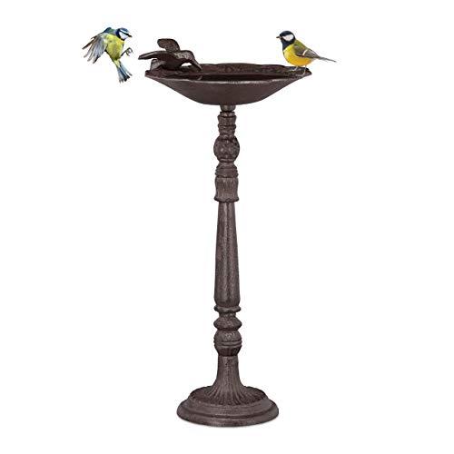 Relaxdays Gusseisen Vogeltränke mit Ständer, Gartendeko, Vogelfutterstelle, Wasserschale f. Wildvögel, 40 cm hoch, braun