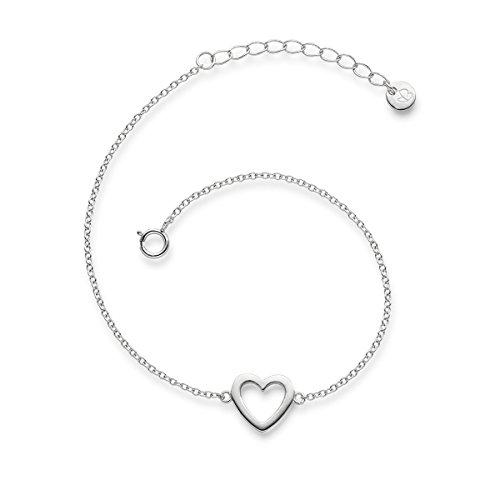 Glanzstücke München Damen-Armband Herz Sterling Silber 17 + 3 cm - Silber-Armkettchen Herzschmuck Freundschaftsarmbänder Armbändchen Silber 925