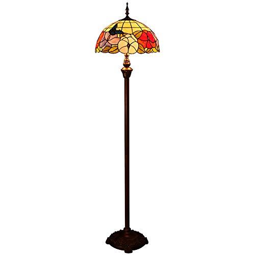 WWWJ Tiffany Stil Lampenschirm Stehlampe, LED Glasschirm Stehende Leselampe für Wohnzimmer, Harz Eisen Kunst Dekoration Befestigung Zugseil/Fußschalter