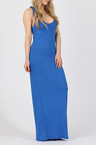 Mesdames Viscose Racerback Maxi Dress EUR Taille 36-42 Bleu royal