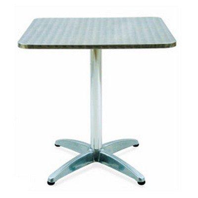 Table carrée Archimedes en aluminium et côté en acier inoxydable de 70 cm
