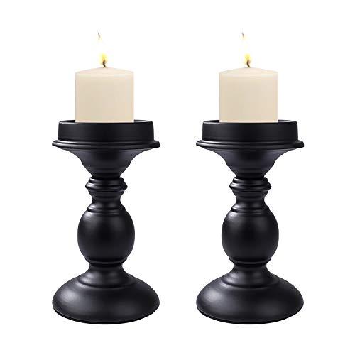 Kerzenhalter Retro Antik Kerzenständer Eisen Deko Kerzenleuchter für Stumpenkerzen, 2PCS Vintage Tischdeko Hochzeit für Weihnachten Geburtstag(19cm, Schwarz)