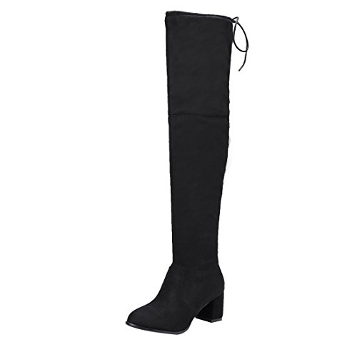 (UH Damen Blockabstz Overknee Stiefel mit Schnürung und Fell Bequeme Warm Herbst Winter Boots)